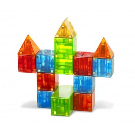 Firkantede byggemagneter 19 stk. i klare farver - Magna-Qubix