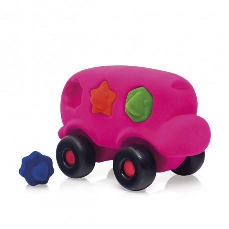 Pink bus med puslespil - Stor - Rubbabu