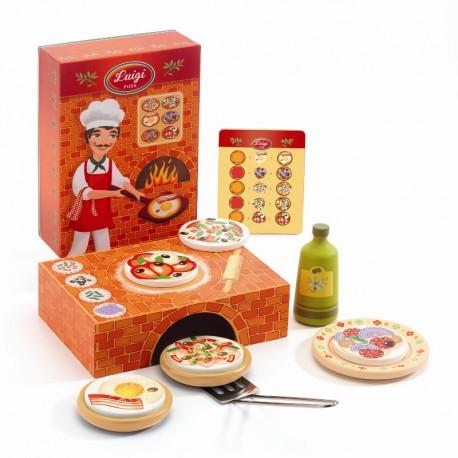 Luigi Pizza med tilbehør - Legemad - Djeco