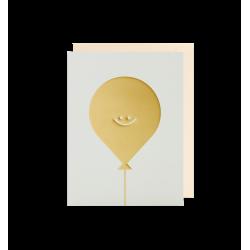 Guld ballon - Lille kort & kuvert - Lagom