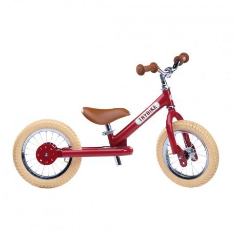 Tohjulet løbecykel - Vintage rød m. retro look - Trybike