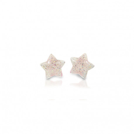Stjerne øreringe med clips - Hvide med glimmer - Milk x Soda